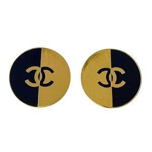 CHANEL Vintage Classic Gold XL CC Logo Earrings